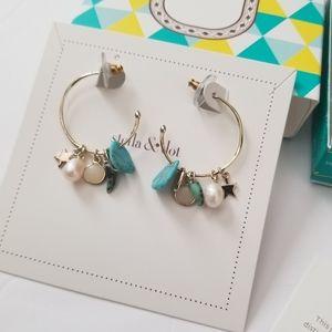 Stella & Dot Beachcomber Hoop Charm Earrings